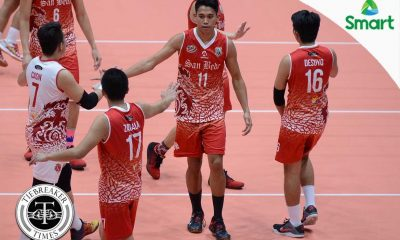 Tiebreaker Times Red Spikers bounce back with win over Stags NCAA News SBC SSC-R Volleyball  San Sebastian Men's Volleyball San Beda Men's Volleyball Roger Gorayeb NCAA Season 92 Men's Volleyball NCAA Season 92 Mark Enciso Juan Paolo Nicandro Jose Roque John Desuyo Christian Calonia