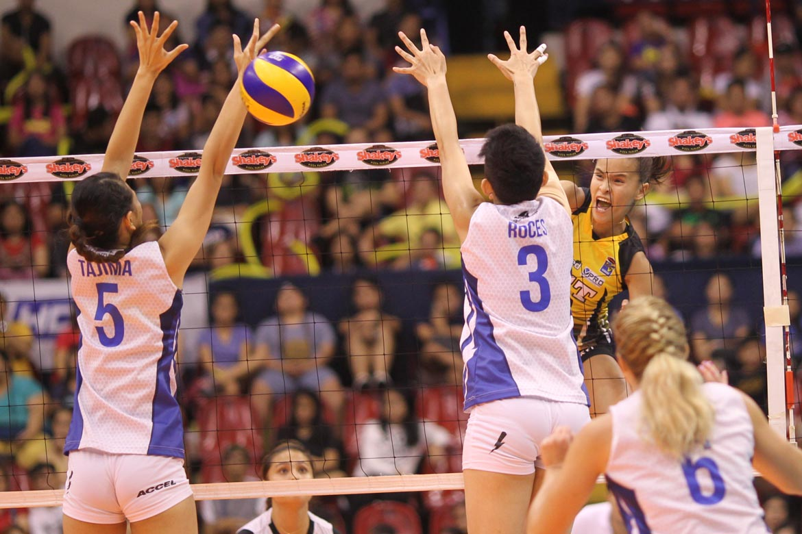 Tiebreaker Times Bali Pure bucks slow start to take Game One of battle for bronze News PVL UST Volleyball  UST Women's Volleyball Tai Bundit Sue Roces Kung Fu Reyes Kaylee Manns Kate Morrell EJ Laure Denden Lazaro Cherry Rondina Bali Pure Purest Water Defenders Amy Ahomiro 2016 SVL Season 2016 SVL Reinforced Conference