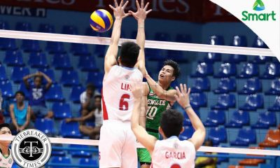 Tiebreaker Times Blazers fend off Generals for share of lead CSB EAC NCAA News Volleyball  Russel Garcia Ron Jordan Rod Palmero NCAA Season 92 Men's Volleyball NCAA Season 92 Kevin Magsino Karlo Gorospe Joshua Miña John Vic De Guzman Isaah Arda EAC Men's Volleyball Benilde Men's Volleyball Aaron Velez
