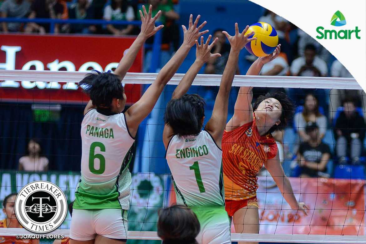 Philippine Sports News - Tiebreaker Times Another year, another ladder: Soltones, Lady Stags back in the Finals CSB NCAA News SSC-R Volleyball  Vira Guillema San Sebastian Women's Volleyball Roger Gorayeb NCAA Season 92 Women's Volleyball NCAA Season 92 Michael Carino Kath Villegas Joyce Sta. Rita Jeanette Panaga Jan Arianne Daguil Grethcel Soltones Benilde Women's Volleyball Alyssa Eroa