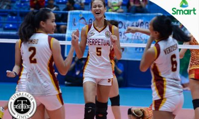 Tiebreaker Times Perpetual survives five-set thriller against San Sebastian NCAA News SSC-R UPHSD Volleyball  San Sebastian Women's Volleyball Roger Gorayeb Perpetual Women's Volleyball NCAA Season 93 Women's Volleyball NCAA Season 93 Michael Carino Marijo Medalla Lourdes Clemente Joyce Sta. Rita Daurene Santos Cindy Imbo Bianca Tripoli