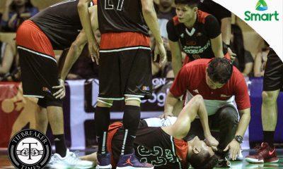Tiebreaker Times Escoto taken out of game, to undergo MRI Basketball Gilas Pilipinas News PBA  Russel Escoto PBA Season 42 Mahindra Floodbuster 2016-17 PBA All Filipino Cup