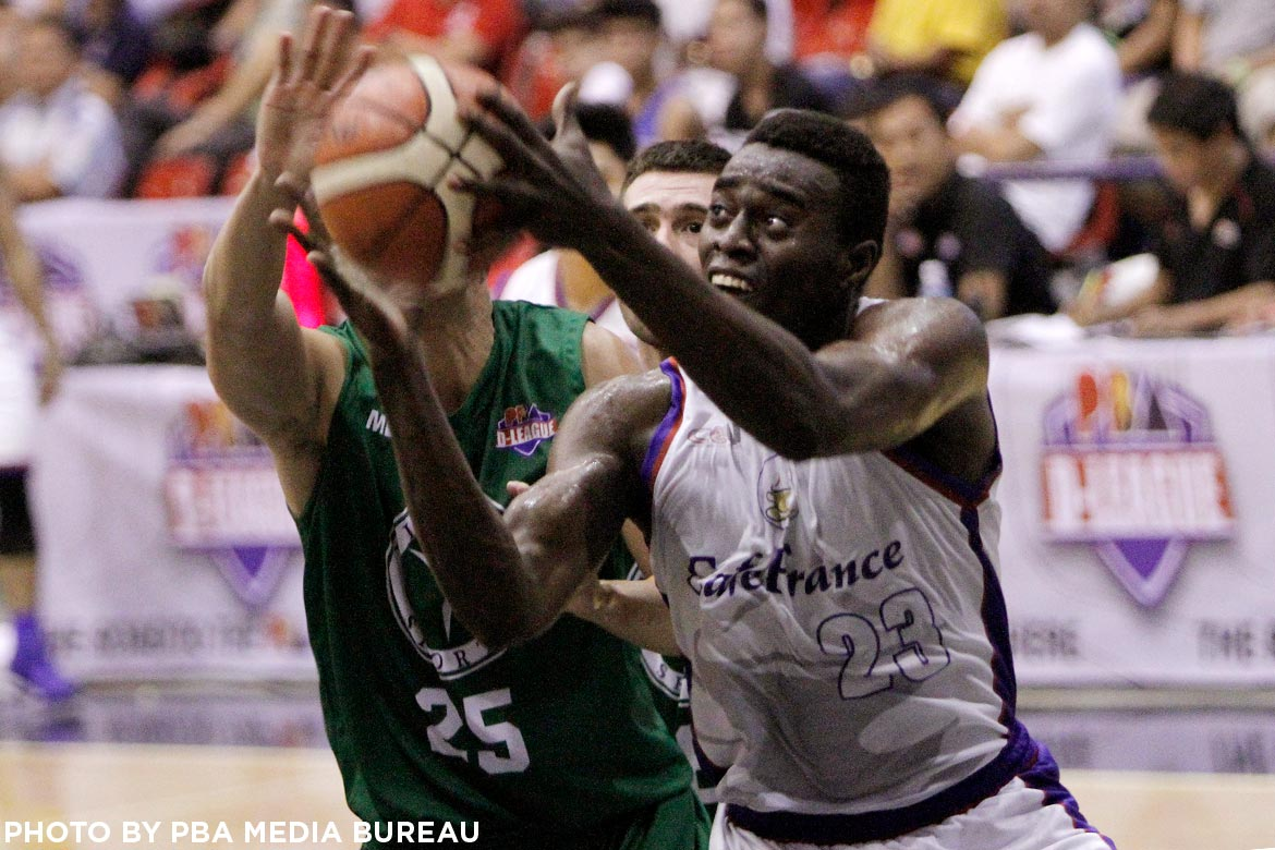 Tiebreaker Times Ebondo, Desiderio lead charge; Cafe France-CEU takes fourth straight Basketball News PBA D-League  Victoria Sports-MLQU Stallions Rod Ebondo Robbie Herndon Paul Desiderio Michole Sorela Jinino Manansala Egay Macaraya Cafe France-CEU Bakers Aris Dionisio Aaron Jeruta 2017 PBA D-League Season 2017 PBA D-League Aspirants Cup