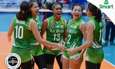 Tiebreaker Times Lady Spikers snap Lady Bulldogs' perfect start DLSU News NU UAAP Volleyball  UAAP Season 79 Women's Volleyball UAAP Season 79 Roger Gorayeb Ramil De Jesus NU Women's Volleyball Kim Fajardo Jaja Santiago Ernestine Tiamzon DLSU Women's Volleyball Dawn Macandili Aiko Urdas Aduke Ogunsanya