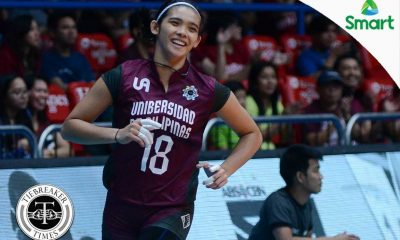 Tiebreaker Times Lady Maroons fend off highly-improved Lady Warriors for second win News UAAP UE UP Volleyball  UP Women's Volleyball UE Women's Volleyball UAAP Season 79 Women's Volleyball UAAP Season 79 Marian Buitre Justine Dorog Jerry Yee Isa Molde Francis Vicente Diana Carlos Arielle Estranero