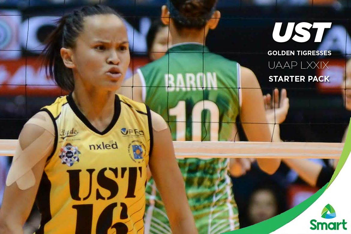 Tiebreaker Times UST Golden Tigresses: UAAP LXXIX Starter Pack Bandwagon Wire UAAP UST Volleyball  UST Women's Volleyball UAAP Season 79 Women's Volleyball UAAP Season 79 Ria Meneses Kungfu Reyes EJ Laure Cherry Rondina