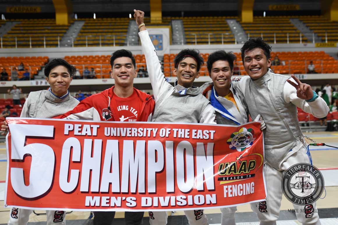 Philippine Sports News - Tiebreaker Times Give Me Five: Red Warriors roll to fifth straight fencing crown ADMU DLSU Fencing News UAAP UE UP UST  UST Men's Fencing UP Men's Fencing UE Men's Fencing UAAP Season 79 Men's Fencing UAAP Season 79 Samuel Tranquilan Rv Libarios Nathaniel Perez Jancen Concepcion Gerry Hernandez DLSU Men's Fencing CJ Concepcion Ateneo Men's Fencing Adamson Men's Fencing