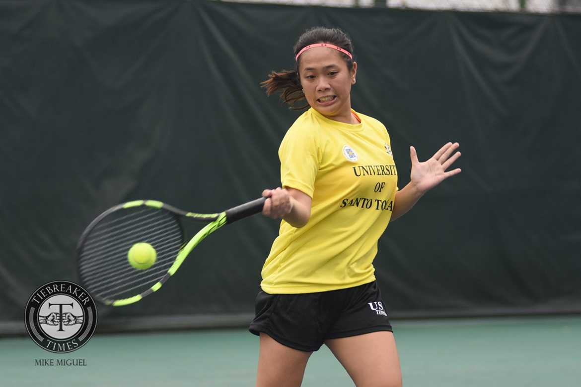 Philippine Sports News - Tiebreaker Times UST Tennisters blast Lady Eagles to close out elims ADMU News Tennis UAAP UST  UST Women's Tennis UAAP Season 79 Women's Tennis UAAP Season 79 Shymae Gitalan Precian Rivera Marrie San Jose Lennelyn Milo Jana Pages Ingrid Gonzales Erika Manduriao Ateneo Women's Tennis