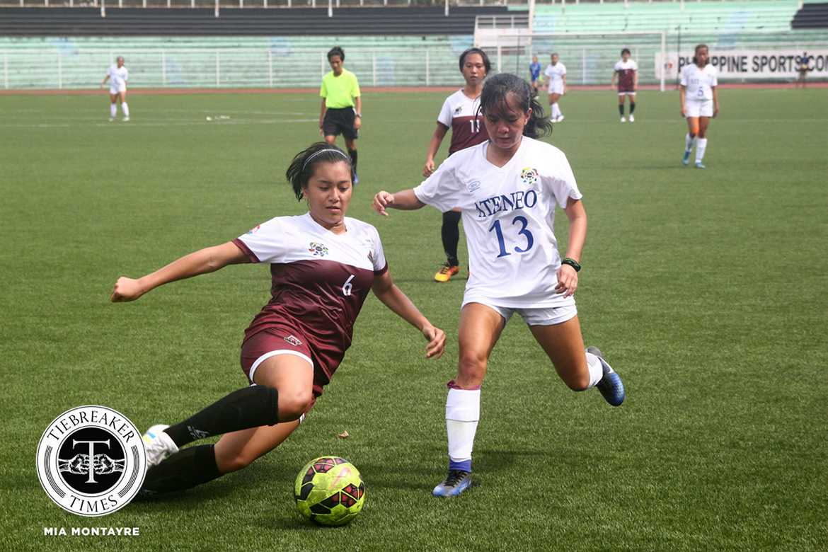 Tiebreaker Times Lady Eagles pull off upset against reigning champions Lady Maroons ADMU Football News UAAP UP  UP Women's Football UAAP Season 79 Women's Football UAAP Season 79 Nicole Adlawan Marie Caparros John Paul Merida Ateneo Women's Football Antonette Amoncio Anto Gonzales