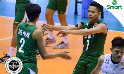 Tiebreaker Times La Salle upsets FEU to keep Final Four hopes alive DLSU FEU News UAAP Volleyball  UAAP Season 79 Men's Volleyball UAAP Season 79 Rey Diaz Nes Pamilar Jopet Movido Greg Dolor Geuel Asia FEU Men's Volleyball DLSU Men's Volleyball Criz Dumago Arjay Onia