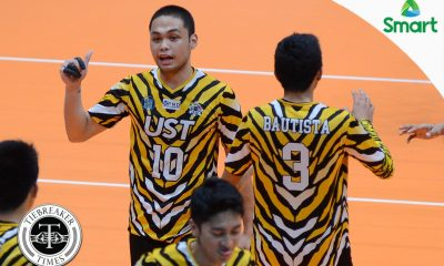 Tiebreaker Times Tigers Spikers send Red Warriors to eighth loss News UAAP UE UST Volleyball  UST Men's Volleyball UE Men's Volleyball UAAP Season 79 Men's Volleyball UAAP Season 79 Timothy Tajanlangit Ruel Pascual Odjie Mamon MAnuel Medina Justin Francisco Edward Camposano Arnold Bautista Alvem Aljas