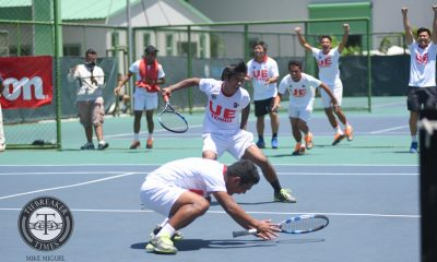 Tiebreaker Times H1story: UE completes epic comeback en route to first-ever tennis crown News Tennis UAAP UE UST  UST Men's Tennis UE Men's Tennis UAAP Season 79 Men's Tennis UAAP Season 79 Rolly Saga Rogelio Estaño Jr. Paulo Baran Numero Lim Jeric Delos Santos Dave Mosqueda AJ Lim