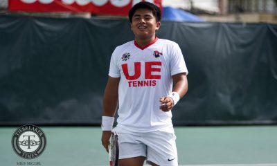 Tiebreaker Times Red Warriors stay unbeaten, devour Fighting Maroons News Tennis UAAP UE UP  UP Men's Tennis UE Men's Tennis UAAP Season 79 Men's Tennis UAAP Season 79 Rogelio Estaño RJ Saga Paulo Baran Josshua Kinaadman Joshua Cano Jeric Delos Santos AJ Lim