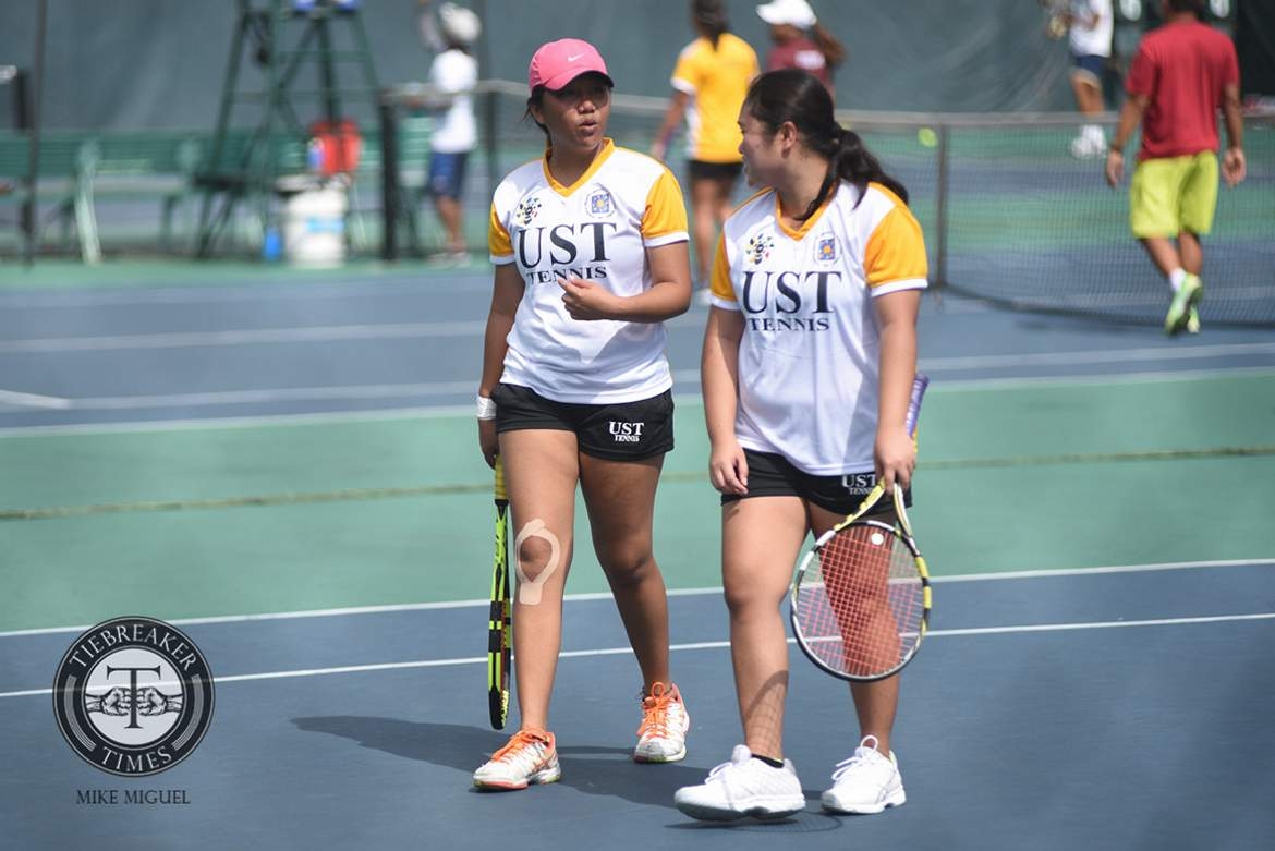 Tiebreaker Times UST Tennisters takes fourth straight at Lady Maroons' expense News Tennis UAAP UP UST  UST Women's Tennis UP Women's Tennis UAAP Season 79 Women's Tennis UAAP Season 79 Shy Gitalan Nicole Eugenio Linelyn Milo Kendies Malinis Ingrid Gonzales Erika Maduriao April Santos