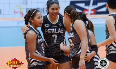 Tiebreaker Times Perlas bounces back in five-setter against Power Smashers News PVL Volleyball  Regine Arocha Power Smashers Perlas Lady Spikers Nes Pamilar Mary Pacres Kathy Bersola Jovelyn Prado Jerry Yee Jem Ferrer Ella De Jesus Amy Ahomiro Amanda Villanueva 2017 PVL Women's Reinforced Conference 2017 PVL Season