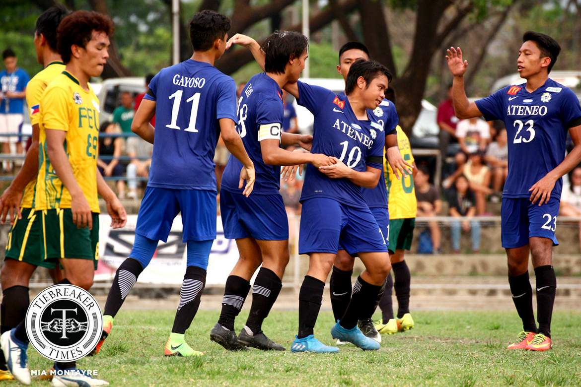 Philippine Sports News - Tiebreaker Times Ateneo finishes elims on top of the table ADMU FEU Football News UAAP  Vince Santos UAAP Season 79 Men's Football UAAP Season 79 RJ Joyel Ranko Feliz Gaudiel John Paul Merida Jarvey Gayoso FEU Men's Football Dominique Canonigo Carlo Liay Ateneo Men's Football AJ Arcilla