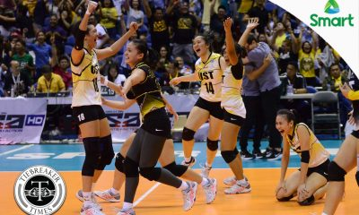 Tiebreaker Times UST ends Final Four drought in dramatic fashion News NU UAAP UST Volleyball  UST Women's Volleyball UAAP Season 79 Women's Volleyball UAAP Season 79 Roger Gorayeb Rica Rivera NU Women's Volleyball Kungfu Reyes Jaja Santiago EJ Laure Cherry Rondina Alex Cabanos
