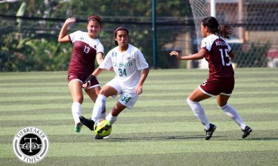 Tiebreaker Times Dominant La Salle routs UP to move one win away from elims sweep DLSU Football News UAAP UP  UP Women's Football UAAP Season 79 Women's Football UAAP Season 79 Sara Castaneda Regine Metillo Nic Adlawan Mary Cristine Duran Kyra Dimaandal Kyla Inquig Inna Palacios Hans-Peter Smit Erika Turtur DLSU Women's Football Andres Gonzales