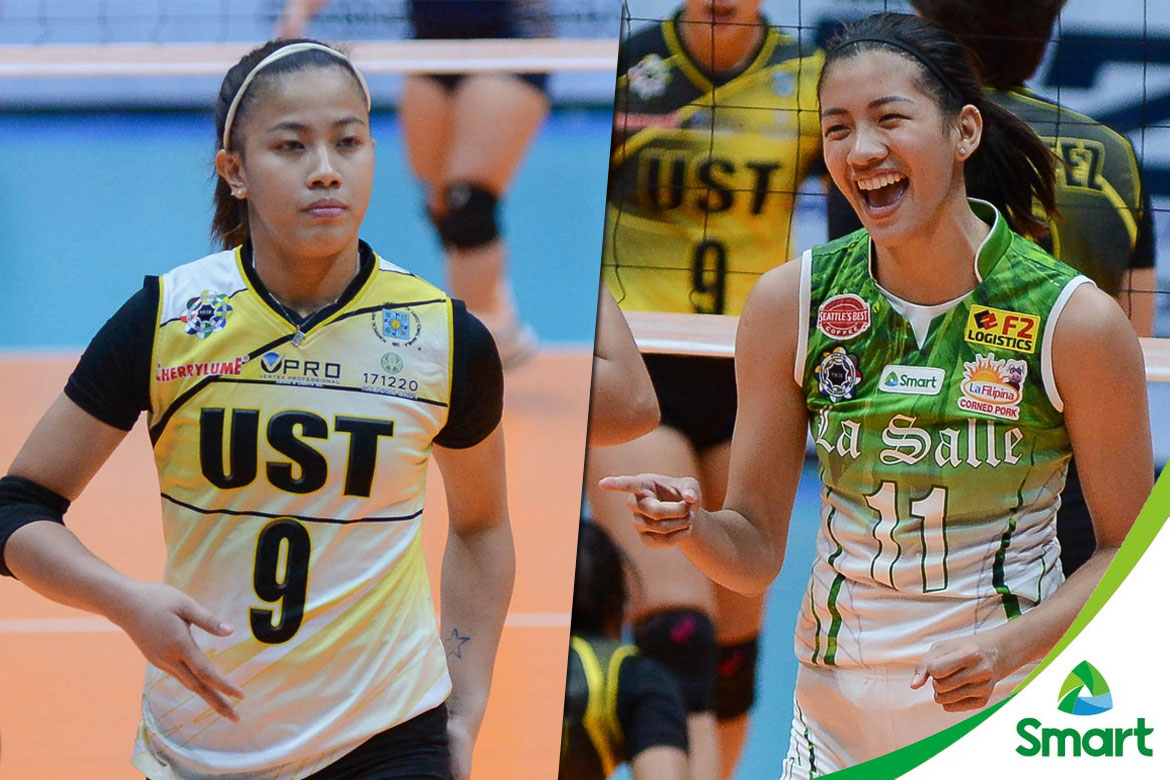 Philippine Sports News - Tiebreaker Times UAAP Season 79 Women's Volleyball Survival Kit: La Salle versus UST Bandwagon Wire DLSU UAAP UST Volleyball  UST Women's Volleyball UAAP Season 79 Women's Volleyball UAAP Season 79 Ria Meneses Kungfu Reyes Kim Fajardo Kim Dy EJ Laure DLSU Women's Volleyball Dawn Macandili Cherry Rondina