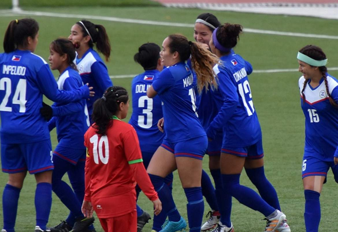 Philippine Sports News - Tiebreaker Times Tajikistan romp sends Philippines to brink of qualification Football News Philippine Malditas  Tajikistan (Football) Mary Duran Inna Palacios Hali Long Buda Bautista Anicka Castaneda