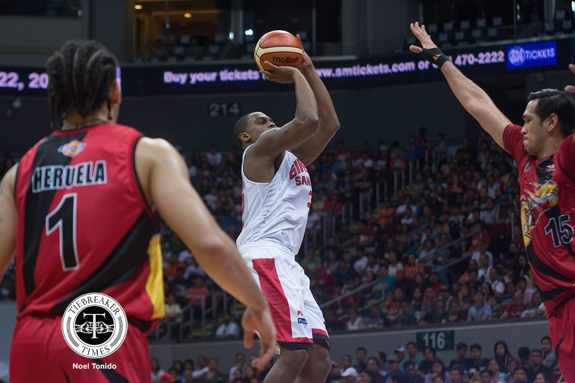 Tiebreaker Times Redemption done right by Brownlee Basketball News PBA  Tim Cone PBA Season 42 Justin Brownlee Barangay Ginebra San Miguel 2017 PBA Commissioners Cup