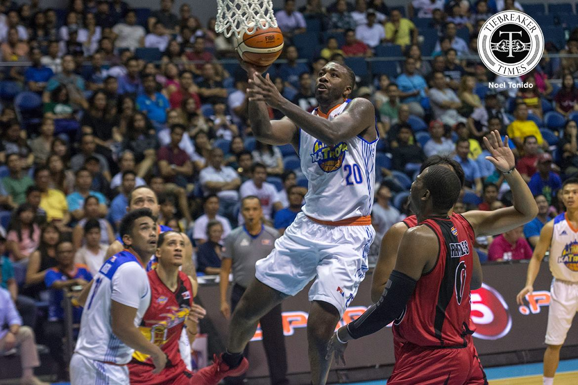Tiebreaker Times Fonacier, TNT hang on to deal San Miguel its' first defeat Basketball News PBA  TNT Katropa San Miguel Beermen PBA Season 42 Nash Racela Marcio Lassiter Leo Austria Larry Fonacier Kelly Williams Donté Greene Chris Ross Charles Rhodes 2017 PBA Commissioners Cup