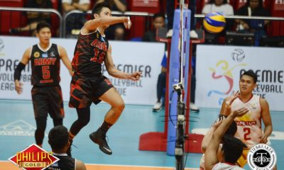Tiebreaker Times Army shows force, sweeps Cafe Lupe for second win News PVL Volleyball  Timothy Tajanlangit Rico De Guzman Michael Reyes Kevin Liberato Joshua Barrica John de Guzman Jayvee Sumagaysay Jason Uy Cafe Lupe Sunrisers Benjaylo Labide Army Troopers 2017 PVL Season 2017 PVL Men's Reinforced Conference