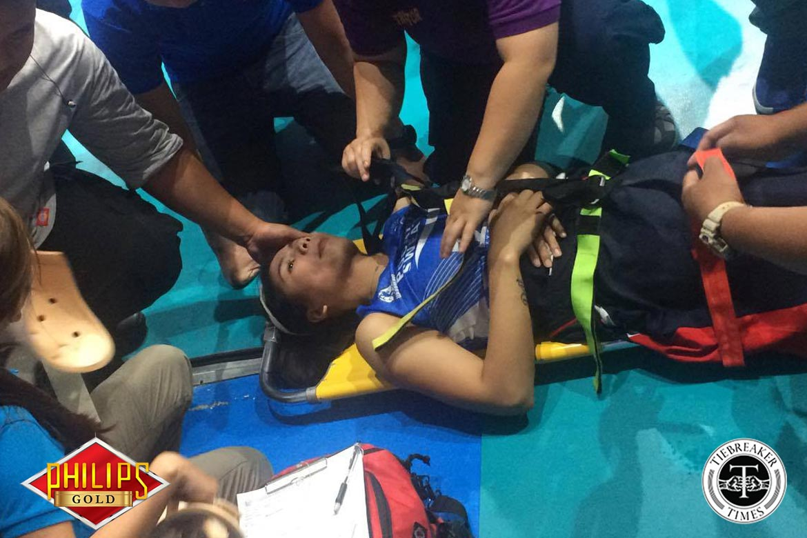 Tiebreaker Times Pablo stretchered out of match against Bali Pure News PVL Volleyball  Pocari Sweat Lady Warriors Myla Pablo Eric Ty 2017 PVL Women's Reinforced Conference 2017 PVL Season