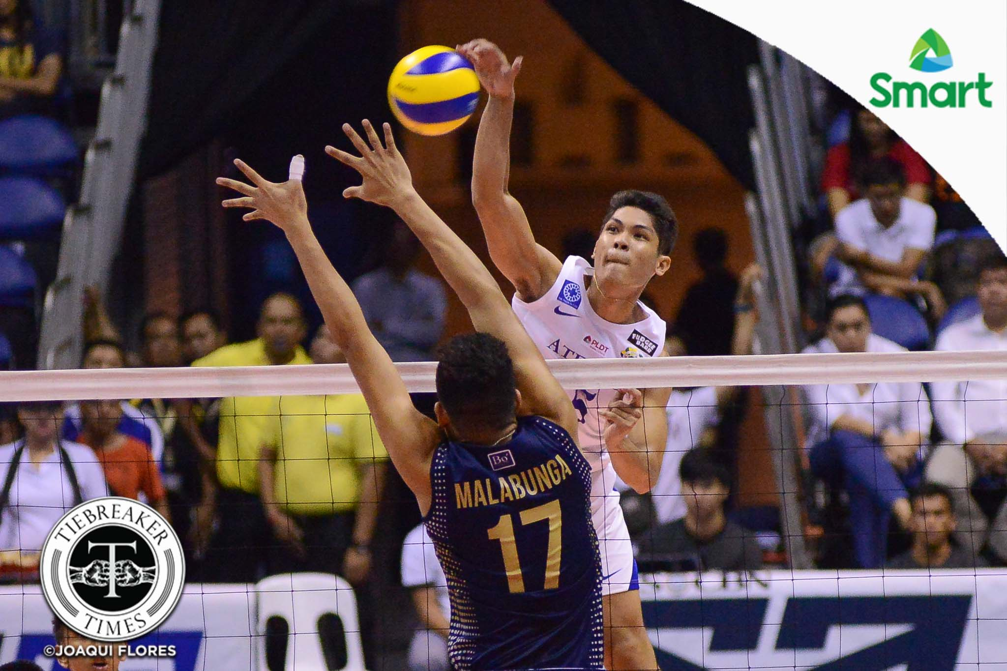 Tiebreaker Times Ateneo survives National U in five-set classic to take Game One ADMU News NU UAAP Volleyball  UAAP Season 79 Men's Volleyball UAAP Season 79 Tony Koyfman Oliver Almadro NU Men's Volleyball Marck Espejo Manuel Sumanguid Ish Polovorosa Fauzi Ismail Dante Alinsunurin Bryan Bagunas Ateneo Men's Volleyball