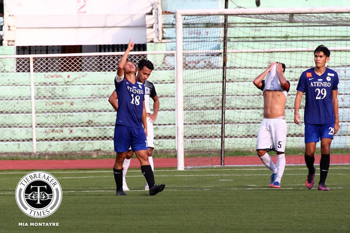Tiebreaker Times Gayoso brace books Ateneo's return to the Final ADMU Football News UAAP UST  UST Men's Football UAAP Season 79 Men's Football UAAP Season 79 Marvin Bricenio Marjo Allado John Paul Merida Jarvey Gayoso Frankie Abraham Ateneo Men's Football AJ Arcilla