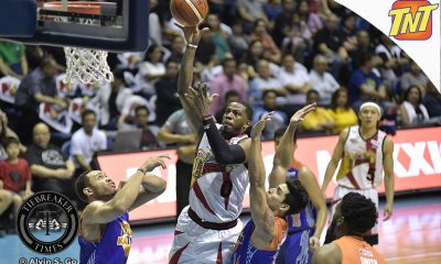 Tiebreaker Times Birthday boy Charles Rhodes puts on Game 3 show Basketball News PBA  San Miguel Beermen PBA Season 42 Charles Rhodes 2017 PBA Commissioners Cup