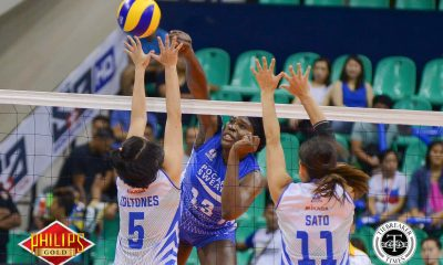 Tiebreaker Times Rivers makes splash in debut, leads Pocari Sweat to series lead News PVL Volleyball  Rommel Abella Roger Gorayeb Pocari Sweat Lady Warriors Michelle Strizak Melissa Gohing Krystal Rivers Jeng Bualee Gyzelle Sy Grethcel Soltones Bali Pure Purest Water Defenders 2017 PVL Women's Reinforced Conference 2017 PVL Season