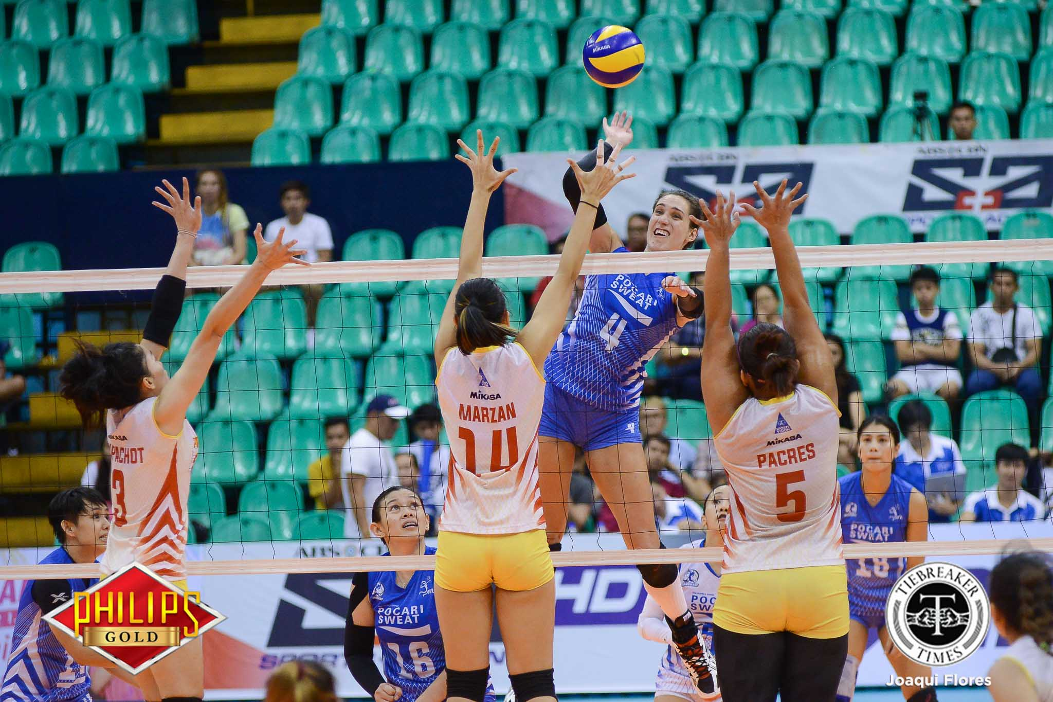 Tiebreaker Times Pocari Sweat cracks Power Smashers, earns shot at third title News PVL Volleyball  Rommel Abella Power Smashers Pocari Sweat Lady Warriors Nes Pamilar Myla Pablo Michelle Strizak Melissa Gohing Kannika Thipachot Hyapa Amporn Gyzelle Sy 2017 PVL Women's Reinforced Conference 2017 PVL Season