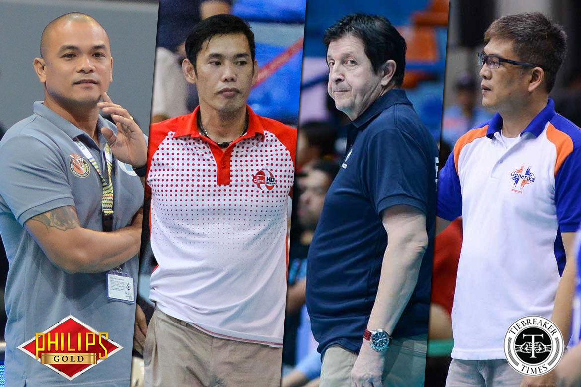 Tiebreaker Times Top PSL coaches make their predictions for Petron-F2 Logistics series News PSL Volleyball  Petron Blaze Spikers Moro Branislav Kungfu Reyes George Pascua Francis Vicente F2 Logistics Cargo Movers 2017 PSL Season 2017 PSL All Filipino Conference