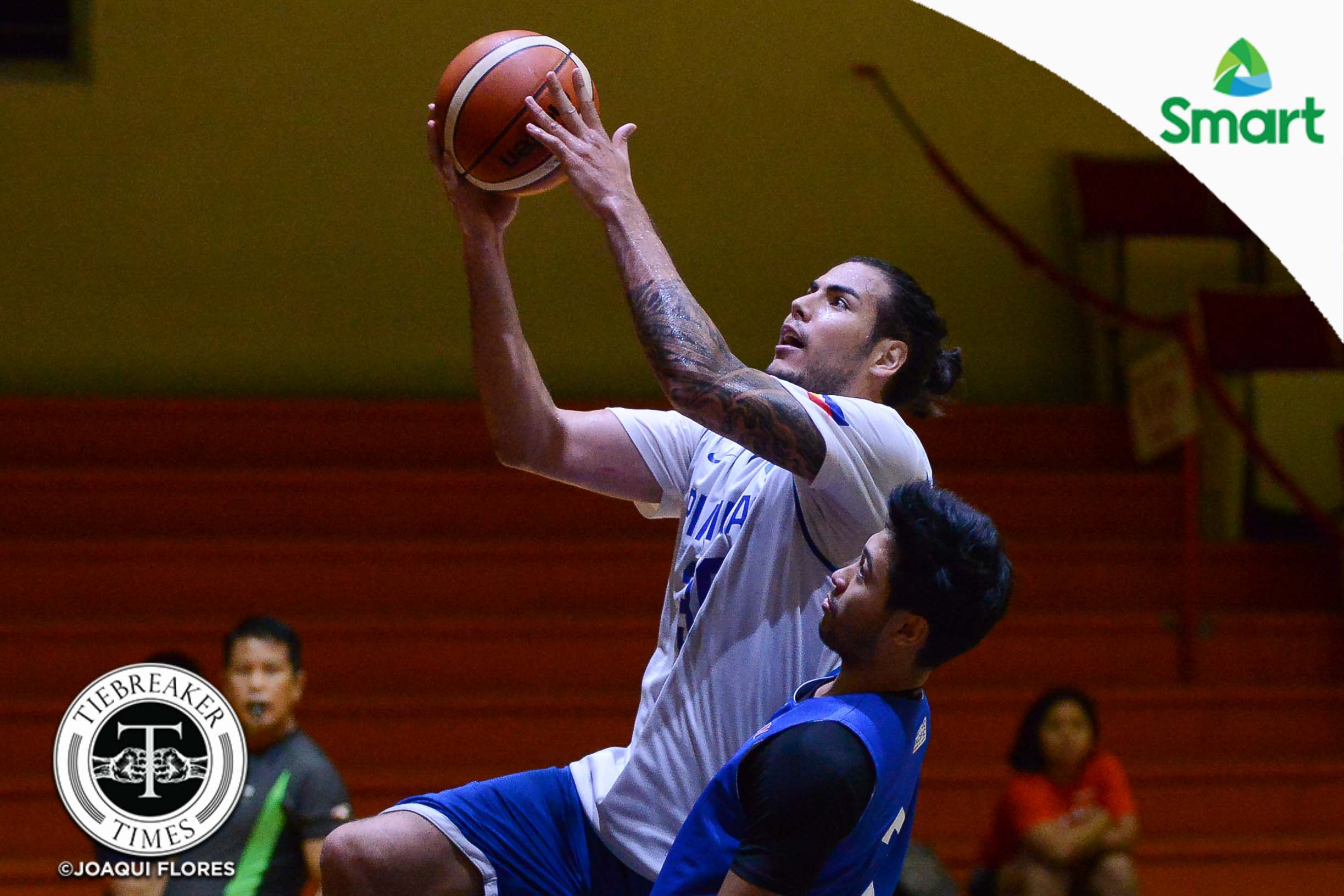 Tiebreaker Times Christian Standhardinger takes part in Gilas practice Basketball Gilas Pilipinas News  Yeng Guiao Stanley Pringle Ricci Rivero Raymond Almazan Paul Lee Maverick Ahanmisi James Yap Gabe Norwood Don Trollano Christian Standhardinger Chris Tiu Beau Belga Asi Taulava 2018 Asian Games-Basketball 2018 Asian Games