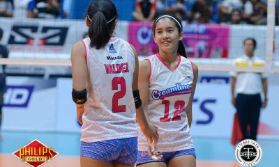 Tiebreaker Times Clutch Jia Morado helps Creamline escape Pocari Sweat-Air Force News PVL Volleyball  Tai Bundit Risa Sato Pocari Sweat-Air Force Lady Warriors Myla Pablo Melissa Gohing Jia Morado Jasper Jimenez Del Palomata Creamline Cool Smashers Alyssa Valdez 2018 PVL Season 2018 PVL Open Conference
