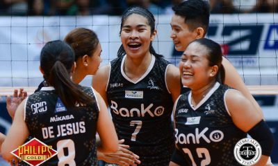 Tiebreaker Times BanKo makes quick work of Adamson-Akari for 7th win AdU News PVL Volleyball  Perlas Lady Spikers Kathy Bersola Fhen Emnas Ella De Jesua Dzi Gervacio Dong dela Cruz Ceasa Pinar Bernadette Flora Akari-Adamson Lady Falcons Air Padda 2018 PVL Season 2018 PVL Open Conference