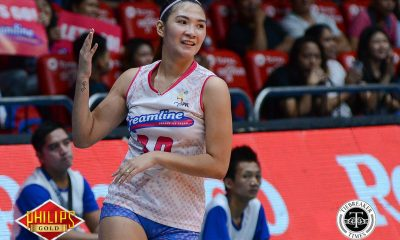 Tiebreaker Times Creamline survives BanKo-Perlas to complete elims sweep News PVL Volleyball  Tai Bundit Rose Vargas Perlas Lady Spikers Nai Muhamed Kathy Bersola Joa Morado Creamline Cool Smashers Cesca Racraquin Angela Nunag 2017 PVL Women's Open Conference 2017 PVL Season