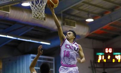 Tiebreaker Times CEU ends Flying V's unbeaten run to force win-or-go-home Basketball News PBA D-League  Yong Garcia Thomas Torres Rod Ebondo Patrick Aquino (CEU) JK Casino Jeron Teng Flying V Thunder Eric Salamat Eric Altamirano Christian Uri CEU Scorpions Aris Dionisio Aaron Jeruta 2017 PBA D-League Season 2017 PBA D-League Foundation Cup