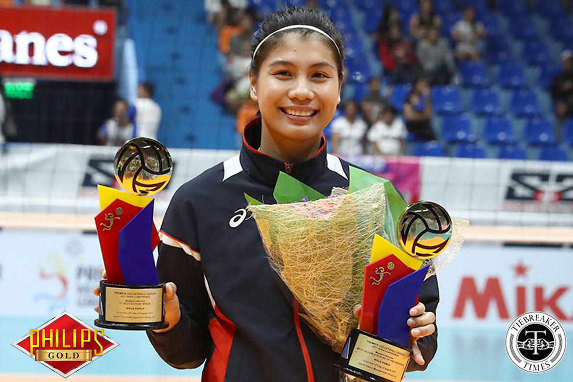 Philippine Sports News - Tiebreaker Times Myla Pablo earns first PVL Conference MVP plum News PVL Volleyball  Pocari Sweat Lady Warriors Philippine Air Force Jet Spikers Myla Pablo Melissa Gohing Jia Morado Jeanette Panaga Iari Yongco Grethcel Soltones Bali Pure Purest Water Defenders 2017 PVL Women's Open Conference 2017 PVL Season