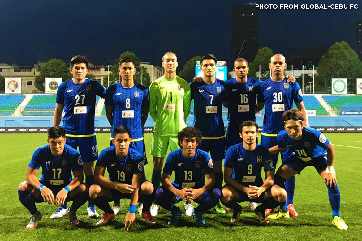 Philippine Sports News - Tiebreaker Times Early Paolo Salenga goal enough as Global-Cebu books ticket to SG Cup semis Football News PFL  Patrick Deyto Paolo Salenga Akbar Nawas 2017 Singapore Cup