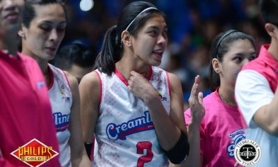 Tiebreaker Times Hobbled Alyssa Valdez returns just in time to help Creamline finish Tacloban News PVL Volleyball  Tai Bundit Tacloban Fighting Warays Nes Pamilar Michele Gumabao Kyla Atienza Jia Morado Dimdim Pacres Creamline Cool Smashers Alyssa Valdez 2018 PVL Season 2018 PVL Open Conference