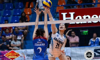 Tiebreaker Times Adamson scores second straight win after dominant outing against Arellano AdU AU News PVL Volleyball  Thang Ponce Obet Javier Jovelyn Prado Jema Galanza Fhen Emnas Arellano Women's Volleyball Airess Padda Adamson Women's Volleyball 2017 PVL Women's Collegiate Conference 2017 PVL Season