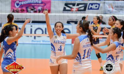 Tiebreaker Times Lady Eagles stomp Lady Stags, keep pace for semis slot ADMU News PVL SSC-R Volleyball  Tai Bundit Sydney Eleazar San Sebastian Women's Volleyball Roger Gorayeb Nikka Dalisay Jules Samonte Deanna Wong Dangie Encarnacion Bea De Leon Ateneo Women's Volleyball 2017 PVL Women's Collegiate Conference 2017 PVL Season