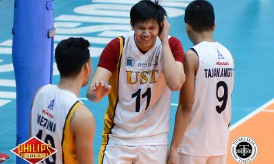 Tiebreaker Times Tiger Spikers stay in hunt for semis spot with crucial win over Red Spikers News PVL SBC UST Volleyball  UST Men's Volleyball Ty Carodan Timothy Tajanlangit San Beda Men's Volleyball Odjie Mamon Mark Enciso MAnuel Medina Lester Sawal Jomaru Amagan 2017 PVL Season 2017 PVL Men's Collegiate