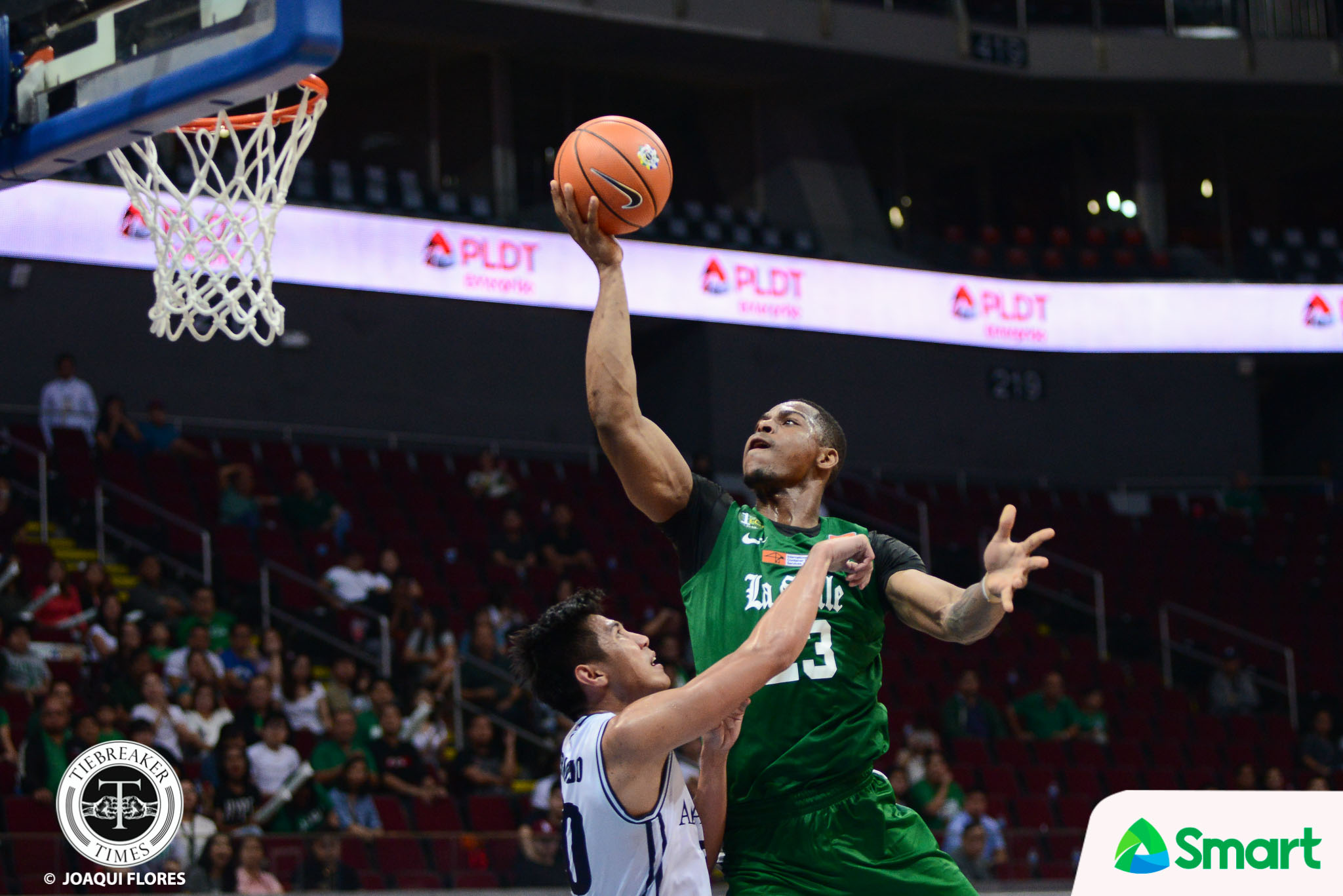 Philippine Sports News - Tiebreaker Times Ben Mbala drops 32 in return, helps La Salle fend off Adamson AdU Basketball DLSU News UAAP  UAAP Season 80 Men's Basketball UAAP Season 80 Santi Santillan Robbie Manalang Papi Sarr Jerrick Ahanmisi Franz Pumaren DLSU Men's Basketball Ben Mbala Aldin Ayo Adamson Men's Basketball