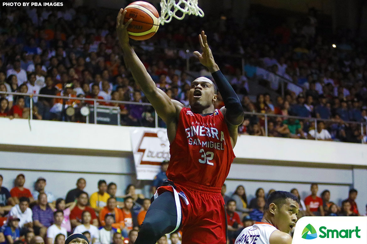 Philippine Sports News - Tiebreaker Times Justin Brownlee lauds Greg Slaughter's impact for Ginbera in Game One Basketball News PBA  PBA Season 42 Justin Brownlee Greg Slaughter Barangay Ginebra San Miguel 2017 PBA Governors Cup