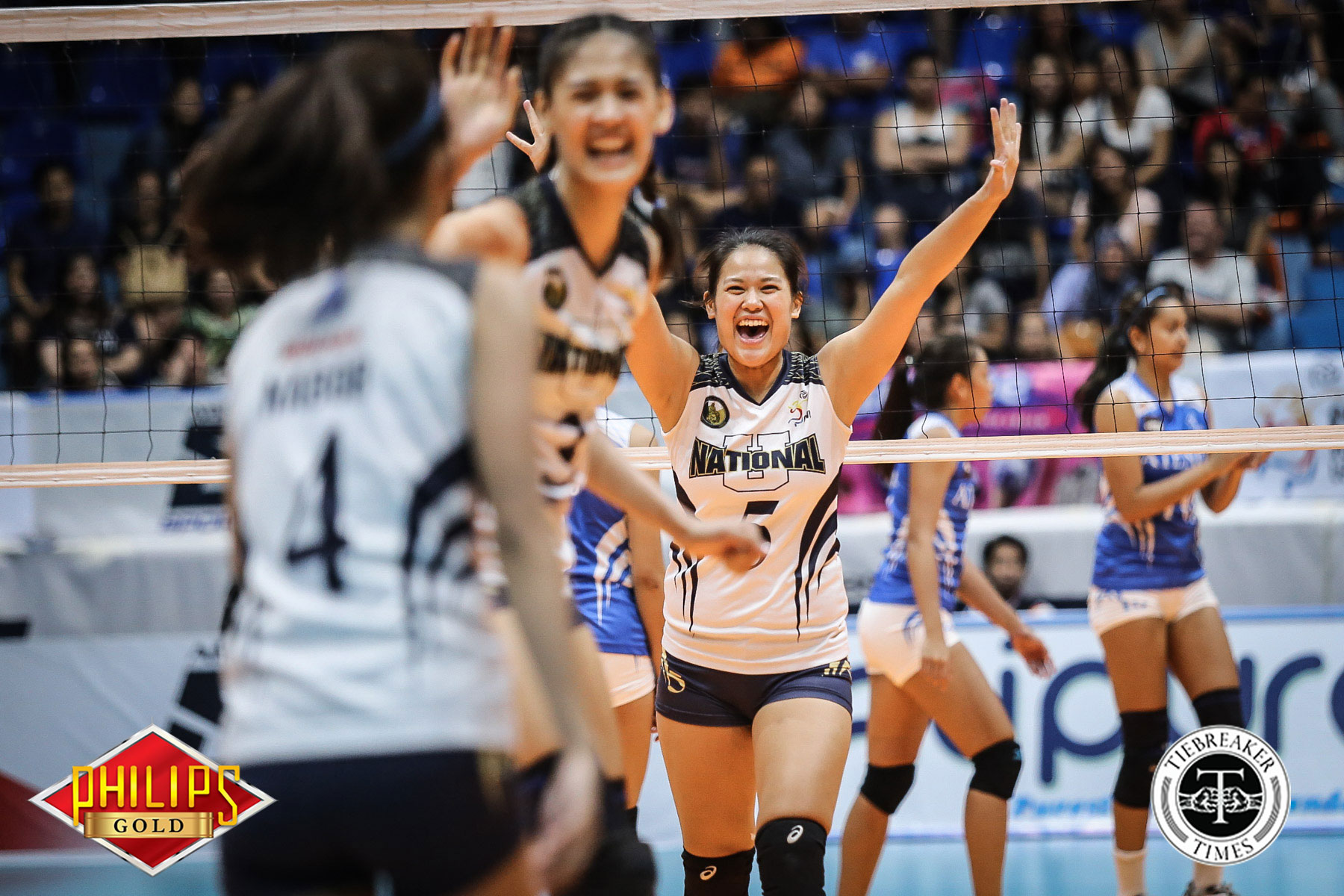 Philippine Sports News - Tiebreaker Times Lady Bulldogs get late boost from NU drummers News NU PVL Volleyball  NU Women's Volleyball NU Pep Squad Jaja Santiago 2017 PVL Women's Collegiate Conference 2017 PVL Season