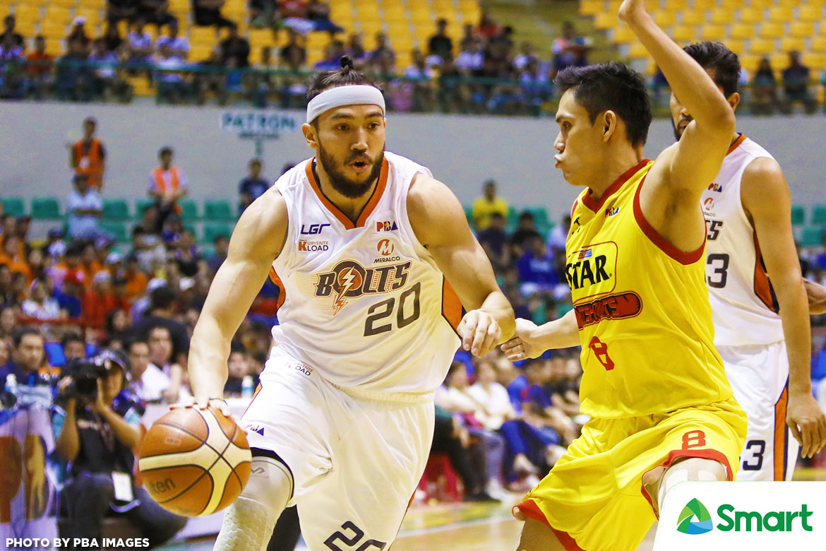 Philippine Sports News - Tiebreaker Times Jared Dillinger, Meralco complete comeback to take Game 1 Basketball News PBA  Star Hotshots PBA Season 42 Paul Lee Norman Black Meralco Bolts Mark Barroca Jiovani Jalalon Jared Dillinger Chito Victolero Baser Amer Allen Durham 2017 PBA Governors Cup