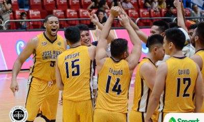 Tiebreaker Times JRU survives San Sebastian in thriller to book playoff spot Basketball JRU NCAA News SSC-R  Vergel Meneses Teytey Teodoro San Sebastian Seniors Basketball NCAA Season 93 Seniors Basketball NCAA Season 93 Michael Calisaan JRU Seniors Basketball Jed Mendoza Ervin Grospe Egay Macaraya Abdoul Poutouochi